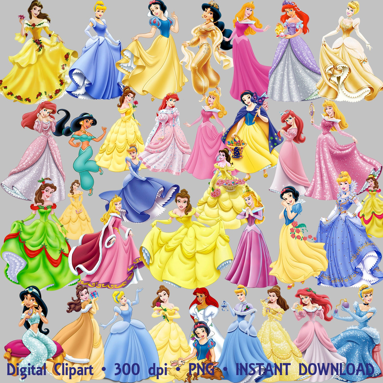 Disney Princesses Clipart Party 35 PNG Set Ariel Jasmine Snow