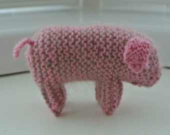 Small Knitted Pig in Steiner Waldorf Style