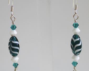 """2"""" Sterling Silver Lampwork Glass and Swarovski Crystal Drop Earrings Woman's Earrings, Dangle Earrings, Swarovski Crystal Earrings, Crystal"""