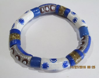 Blue, White & Brown Ghana Bracelet