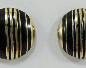 Vintage round black enamel clip earrings 80's, stripes clip on earrings
