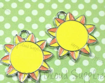 Bright Sun Enamel Charms... 4pcs