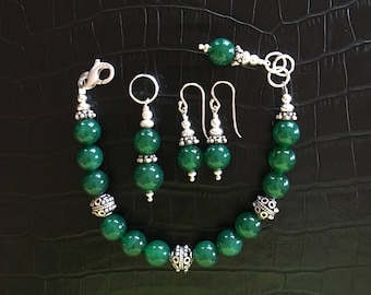 green onyx and sterling silver jewelry set