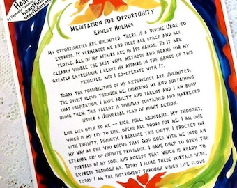 Meditation 4 Opportunity ERNEST HOLMES 8x11 Law of Attraction POSTER Inspirational Motivational Saying Heartful Art by Raphaella Vaisseau