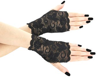 gloves womens black mittens black gloves fingerless gloves formal gloves women gothic bride lace gloves goth gothic wedding black 01B