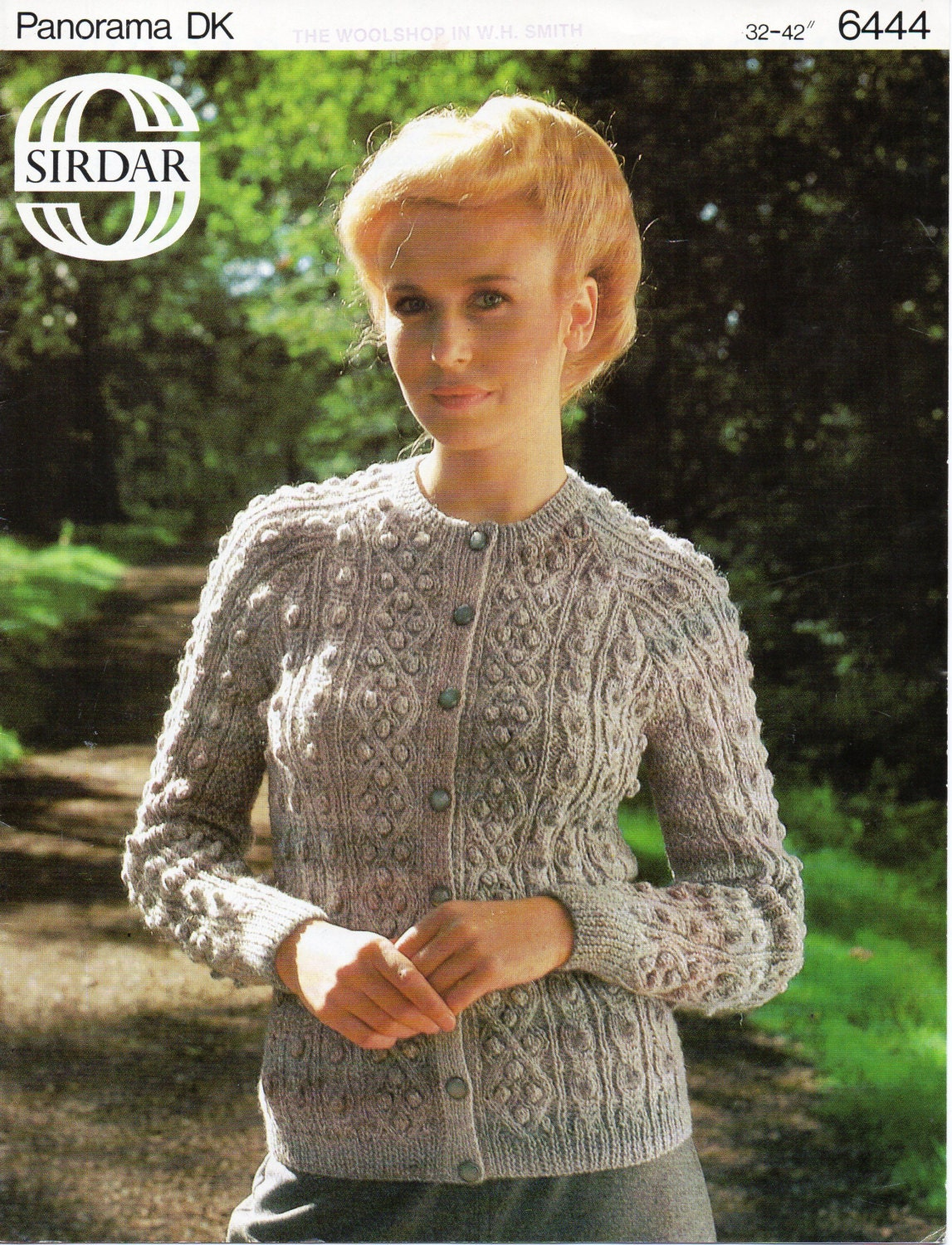 womens bobble stitch & cable cardigan knitting pattern aran style ...