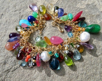 Briolette Charm Bracelet,Multi Gemstone Bracelet,Gemstone Briolette Bracelet,Semi Precious and Precious Gemstone Bracelet,Charm Bracelet