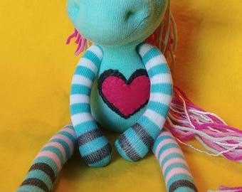 "Isla - 13.5"" Sock Unicorn Plush - Handmade Plush Doll"