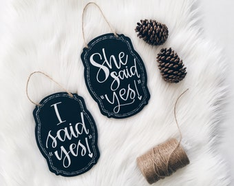 Wedding Prop, Engagement Signs, Wedding signage, She Said Yes, I Said Yes, Chalkboard signs, Wedding chalkboard, Photography Signs