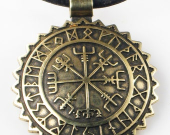 Viking Vegvisir Nautical Nordic Compass Pendant w/Rune Calendar - Kiln-Fired Bronze Compass KeyRing - Celtic Compass - Nautical Compass Gift