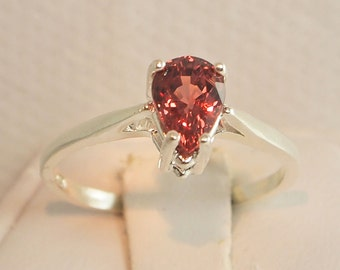 Color Shift Garnet Ring, 1.05 Carat, Pear Cut, Sterling Silver Ring, Size 5 1/2