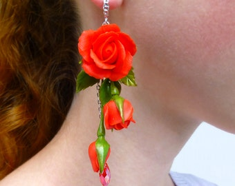 Red earrings Long earrings Flower earrings Red jewelry Red flower earrings Summer earrings Rose earrings Flowers jewelry gifts for women