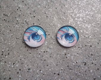 1 set of 2 illustrated Blue round glass Cabochons 16 mm