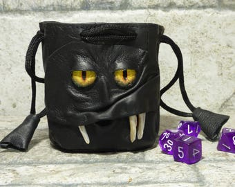 Dice Bag Marble Bag Fairy Pouch With Monster Face RPG Drawstring Bag Rune Bag Magic The Gathering Gamer Gift Black Leather 37