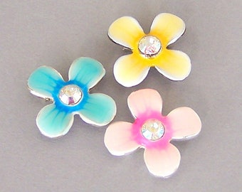 3 daisy two hole sliders beads with AB crystal, blue, yellow and pink flower spacers, 17mm, enameled pastel colors, two tone