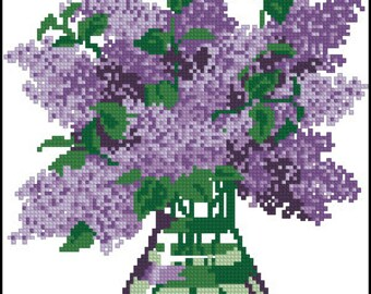 Instant Download Counted Cross Stitch Chart PDF Pattern N106ld - Lilac in a vase