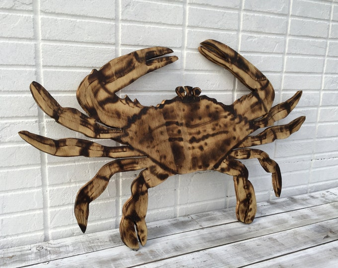 Crab Wall Art, Wooden Crab Wood Burning art, Beach House Decor, Patio Sign Outdoor, Housewarming gift idea for Dad.