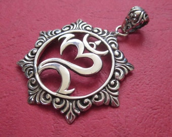 Balinese Silver sterling symbol Om Mantra Pendant / silver 925 / Bali jewelry / 1.65 inch long / (#24p)