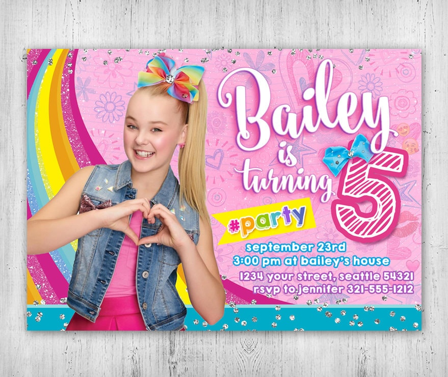 JoJo Siwa Birthday Invitation Printable Digital File