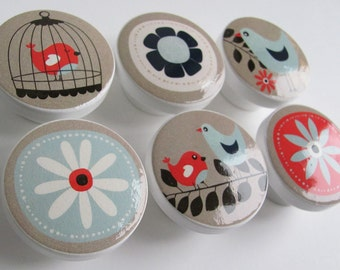 Light Blue and Beige Bird Knobs, Birdcage Drawer Knobs- Wood Knobs- 1 1/2 Inches- Made-to-Order
