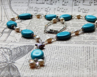 Necklace of freshwater pearls, Czech glass and imitation turquoise magnesite stone.