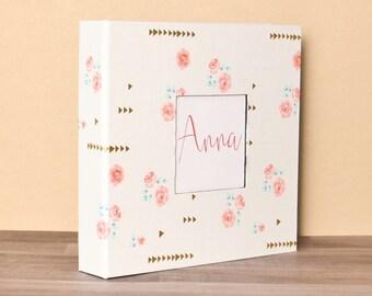 NEW // Baby Book, Baby Gift, Baby Album, Baby Memory Book, Baby Keepsake, Modern Baby Book, White w/Pink Flowers