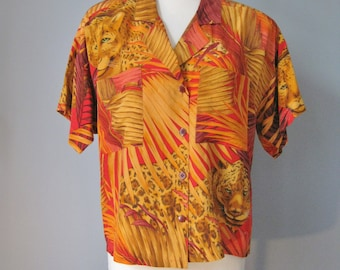 Silk Blouse / Vtg 80s 90s / Linda Allard Ellen Tracy Animal print Short sleeved animal print blouse