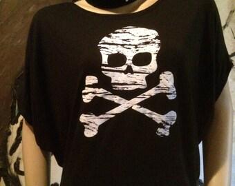 Distressed Skull and Bones T-shirt Top