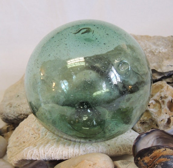 "Vintage 13"" In Circumference Japanese GLASS FISHING FLOAT Bubbles & embedded  Matter (#76)"