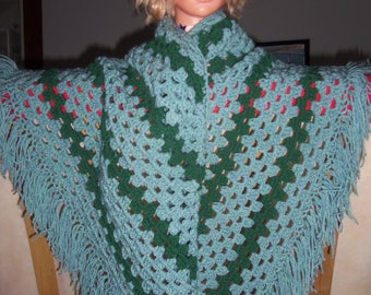 woman shawl knit handmade