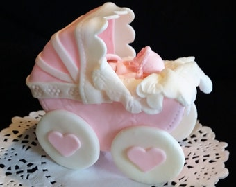 Baby Carriage Cake Topper, Baby Boy Centerpiece, Blue Carriage Cake Topper, Baby Pink Carriage, Carriage Centerpiece, Blue Carriage for Cake