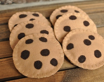 Felt Chocolate Chip Cookies - Felt Food for Pretend Play