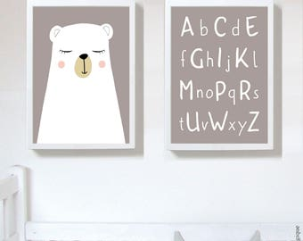 Set of 2 Prints,nursery art prints , baby nursery decor ,nursery wall art, Children Art - Kids Room