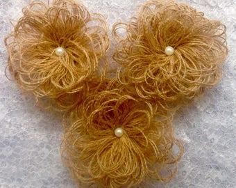 3 Burlap (Hessian) Handmade Flowers Shabby Vintage