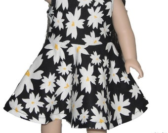 """Sleeveless Knee Length 18"""" Doll Clothes White Daisy flowers on  Black Dress w/ Invisible Back Zipper"""