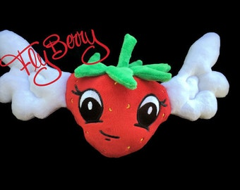 Gift for Toddlers, Strawberry with Wings Plush, Fruit Lover, Ester Basket Stuffer, Cute Strawberry, Handmade Toy for Girls, Baby Nursery