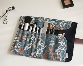 8 holes roll up pencil case with canvas- pen holder bag