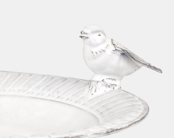 """Footed bowl """"Moineau"""", white enamelled ceramic. Fruit platter, footed bowl, decorative recipient."""