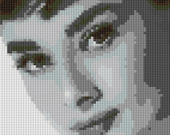 Audrey Hepburn counted Cross Stitch Pattern in grayscale - instant download
