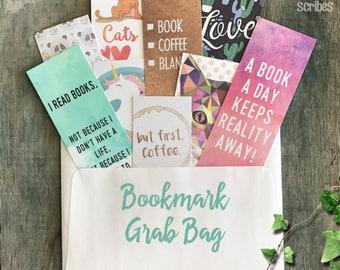 Random Bookmark Grab Bag, 9 Random Pretty Printed Bookmarks, Reader Surprise Gift, Book Club MVP Gift under 10,