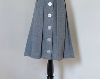 Vintage 1950s Pleated Skirt / Gray Wool Skirt Striped Skirt Button Front Large Buttons Inverted Pleats / XS or S