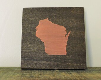 """Any Color, Any State, Custom State Wall Art, Wisconsin, Badgers, Panthers, 5""""x 5"""""""