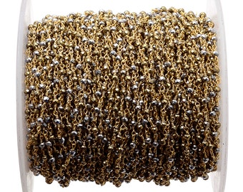 5 Feet Natural Pyrite Beaded Chain, Wire Wrapped Rondelle Beads, Rosary Style Chain, Chain By The Foot, Rc39