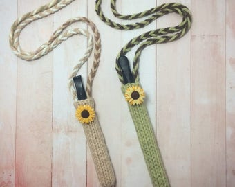 The Sunny Flowers Collection vaporizer case dab pen pouch knit vape lanyard lighter holder sunflower