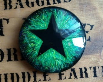 Altar Pentacle. Protection Stone Abunadance Witchcraft Hand painted on Glass OOAK Pentagram Worry Stone