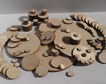 "25 Ct 1.5"" Wood Circles - Unfinished - for Charms, Crafts, Pendants, Round Circles, DIY Projects SH-310-1.5"