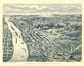 Vintage Map - St Paul,  Minnesota 1893