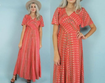 70s Coral Maxi Dress, Flutter Sleeve, Empire Waist, V Neck, Nautical Sailor Print, Size Small to Extra Small, Petite, Nylon, 60s, Vintage