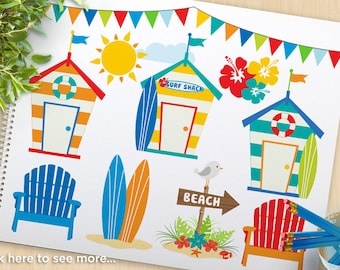 Surf's Up, surfing Clipart, Beach hut, surf shack, Adirondack chairs, surfboards, summer, hibiscus, commercial use, vector clip art, SVG Cut