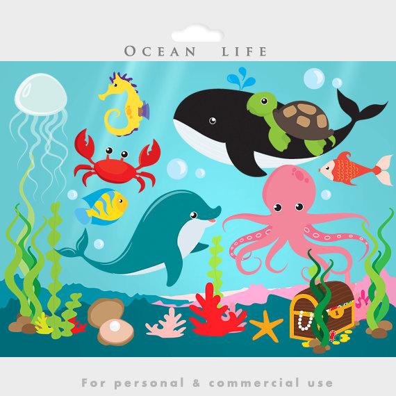 Under The Ocean Sea Clip Art Fish Seaweed Dolphin Whale
